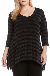 Plus Size Women's Karen Kane Sparkle Stripe Tunic