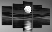 Amazon.Com Wieco Art Sea White Full Moon In The Night 100 Hand Painted Oil Paintings Modern Canvas Wall Art Decor For Home Decoration Landscape Abstract Oil Painting On Canvas 5Pcs Set I