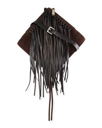 Cnc Costume National Suede And Leather Shoulder Bag W Fringe Cocoa Black Brown Black Costume National