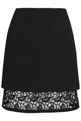 Topshop A Line Overlay Lace Skirt Black