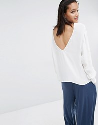 Just Female Essie Blouse With Deep Plunge Back White
