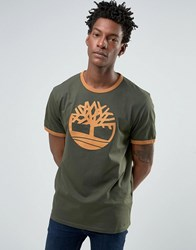 Timberland Logo Ringer T Shirt In Green Forest Night