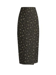 Brock Collection Floral Jacquard Pencil Midi Skirt Grey Multi