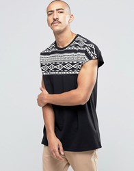 Asos Overszied T Shirt With Monochrome Aztec Yoke Black