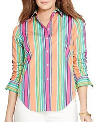 Lauren Ralph Lauren Plus Variegated Stripe Shirt Orange Multi