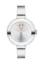 Movado 'Bold' Bangle Watch 34Mm Silver Rose Gold