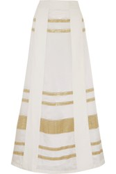 Zeus Dione Leda Paneled Lame And Silk Crepe De Chine Maxi Skirt Ivory