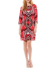 Laundry By Shelli Segal Contrast Print Shift Dress Coral Rage