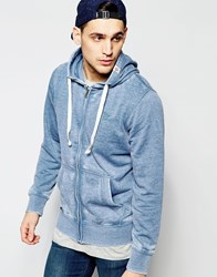 Tokyo Laundry Burnout Zip Through Hoodie Blue