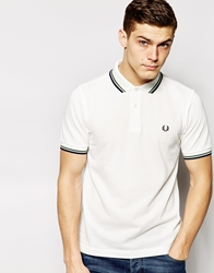 Fred Perry Polo Shirt With Twin Tip Slim Fit White