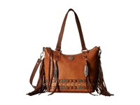American West Mohican Melody Convertible Zip Top Bucket Tote Golden Tan Antique Brown Tote Handbags