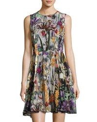 Catherine Malandrino Floral Print Sleeveless Fit And Flare Dress Multi