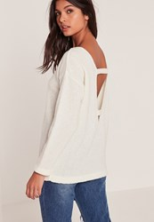 Missguided White Cosy Tab Back Jumper Ivory