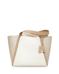Akris Alex Tricolor Bucket Tote Bag Ivory