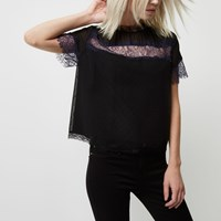 River Island Womens Petite Black Lace Crop T Shirt