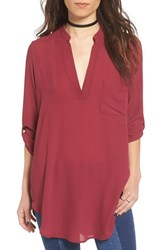 Lush Women's 'Perfect' Roll Tab Sleeve Tunic Rhododendron