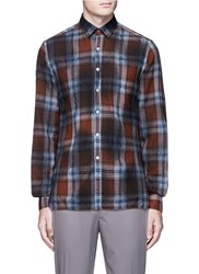 Lanvin Overdyed Check Plaid Shirt Brown Multi Colour