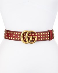 Gucci Studded Leather Logo Buckle Belt Red Size 30In 75Cm