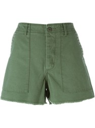 Saint Laurent Studded Army Shorts Green