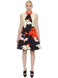 Delpozo Flared Floral Printed Cotton Crepe Dress