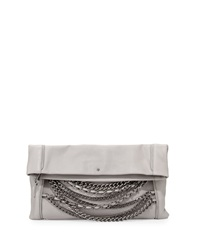 Ash Domino Chain Fold Over Leather Clutch Bag Stone Gray Silver