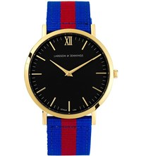 Larsson And Jennings Kulor Windsor Large Gold Plated Watch 40Mm Blue Red