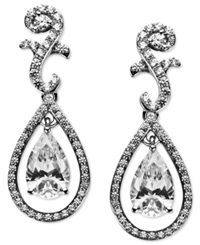 Arabella Sterling Silver Earrings Swarovski Zirconia Teardrop Earrings 9 Ct. T.W.