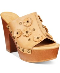 Dolce By Mojo Moxy Janis Wooden Platform Mules Women's Shoes Natural