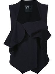 Y's Layered Tied Vest Black