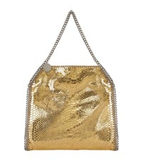 Stella Mccartney Metallic Snake Print Falabella Tote Female Gold