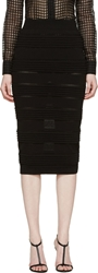 Burberry Black Pleated And Knit Pencil Skirt