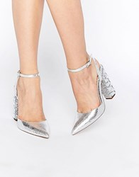 Asos Playground Embellished Pointed High Heels Silver