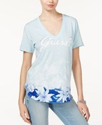 Guess Washed Floral Print Logo T Shirt Cool Blue
