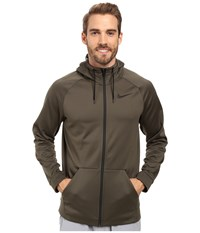 Nike Therma Full Zip Training Hoodie Cargo Khaki Black Men's Sweatshirt Green