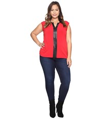 Calvin Klein Plus Size Sleeveless Top W Pu Trim And Chain Rouge Women's Sleeveless Red