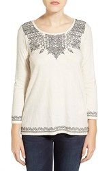 Women's Lucky Brand Placed Embroidery Tee Nigori
