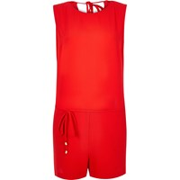 River Island Womens Red Romper Playsuit