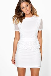 Boohoo Cait Crochet Lace Peplum Shift Dress Ivory