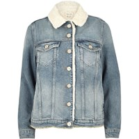 River Island Womens Light Blue Wash Borg Lined Denim Jacket