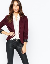 New Look Tailored Jersey Blazer Burgundy