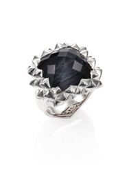Stephen Webster Superstud Grey Cat's Eye Clear Quartz And Sterling Silver Haze Small Square Ring No Color