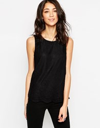 Vero Moda Sleeveless Top With Contrast Lace Overlay Black