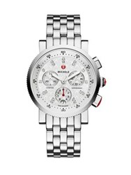 Michele Sport Sail 18 Diamond And Stainless Steel Chronograph Bracelet Watch