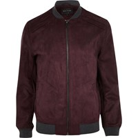 River Island Mens Dark Red Faux Suede Bomber Jacket