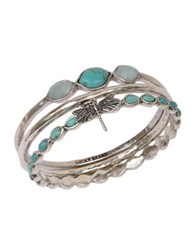 Lucky Brand Silvertone And Faux Turquoise Three Bangle Set Turquoise Silver