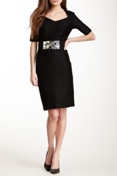 Nue By Shani Elbow Length Sleeve Belted Dress Black