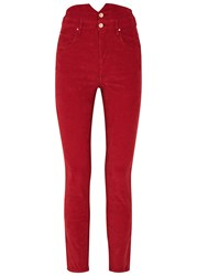 Etoile Isabel Marant Farley Red High Waisted Corduroy Trousers