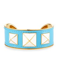 Enamel Studded Leather Cuff Turquoise White Gold W Turquoise Rebecca Minkoff