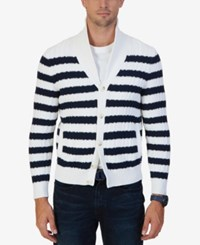 Nautica Men's Breton Striped Shawl Collar Sweater Sail White