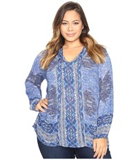 Lucky Brand Plus Size Cut Out Blouse Blue Multi Women's Blouse